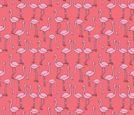 flamingo fabric // birds tropical summer andrea lauren fabric coral fabric by andrea_lauren on Spoonflower - custom fabric