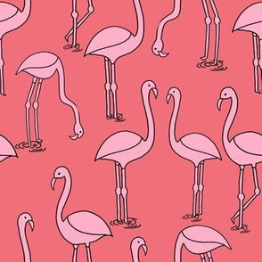 flamingo fabric // birds tropical summer andrea lauren fabric coral