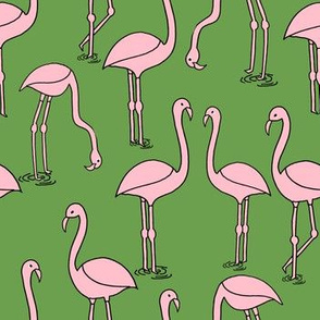 flamingo fabric // birds tropical summer andrea lauren fabric lime green and pink