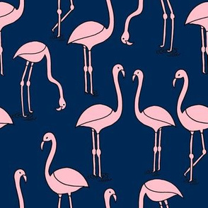flamingo fabric // birds tropical summer andrea lauren fabric navy and pink