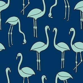 flamingo fabric // birds tropical summer andrea lauren fabric navy and mint