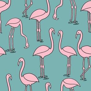 flamingo fabric // birds tropical summer andrea lauren fabric blue and pink
