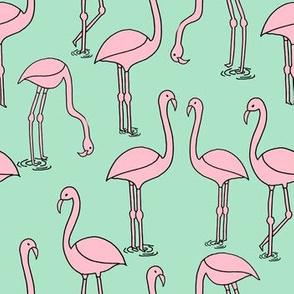 flamingo fabric // birds tropical summer andrea lauren fabric mint and pink