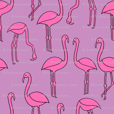 flamingo fabric // birds tropical summer andrea lauren fabric purple