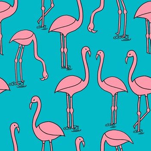 flamingo fabric // birds tropical summer andrea lauren fabric turquoise and white