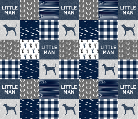 little man - navy and grey (coonhound) fabric by littlearrowdesign on Spoonflower - custom fabric