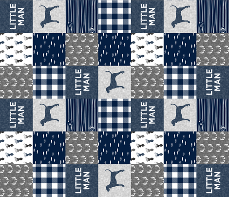 little man (90) - navy and grey (coonhound) fabric by littlearrowdesign on Spoonflower - custom fabric
