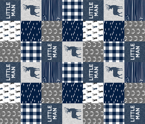 little man (90) - navy and grey (buck) quilt woodland fabric by littlearrowdesign on Spoonflower - custom fabric