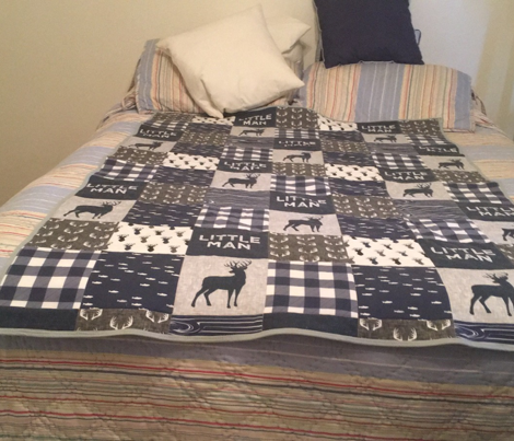 little man - navy and grey (buck) quilt woodland