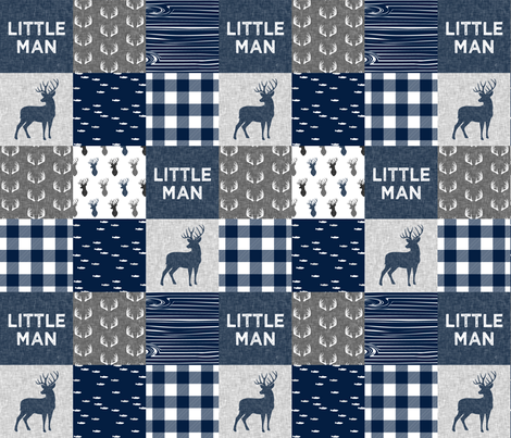 little man - navy and grey (buck) quilt woodland fabric by littlearrowdesign on Spoonflower - custom fabric