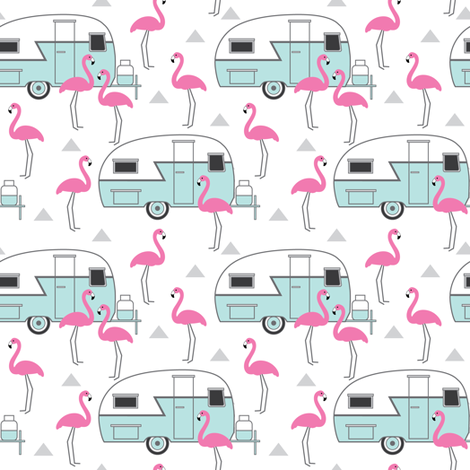 small trailers-and-flamingos-on-white fabric by lilcubby on Spoonflower - custom fabric