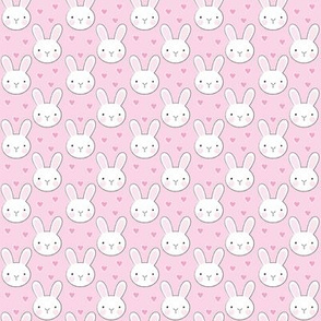 small bunny-faces and-hearts on-bright-pink