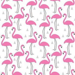 small bright pink flamingos-on-white