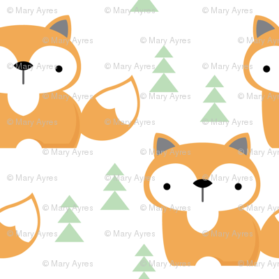 fox-on white-with-green-trees