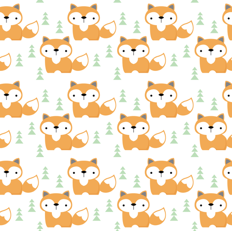 fox-on white-with-green-trees fabric by lilcubby on Spoonflower - custom fabric