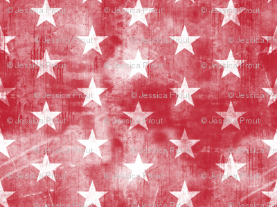 distressed stars on dark red