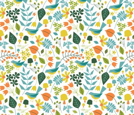 Springtime Floral ~ Bluebird fabric by retrorudolphs on Spoonflower - custom fabric