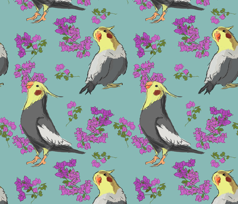 cockatiel flowers fabric by swampdragons on Spoonflower - custom fabric