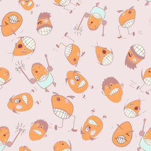 Egg Heads Seamless Repeating Pattern on Light Pink