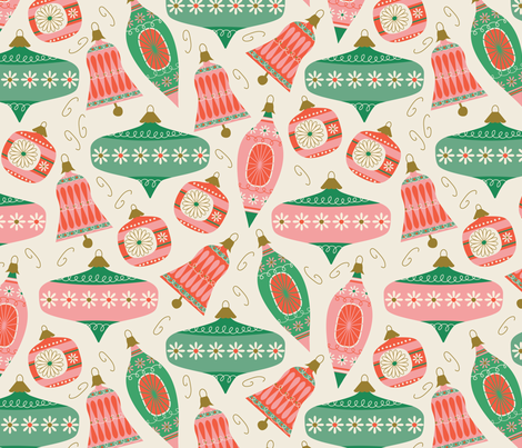 Vintage Ornaments ~ traditional fabric by retrorudolphs on Spoonflower - custom fabric