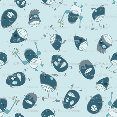 Egg Heads Seamless Repeating Pattern on Blue