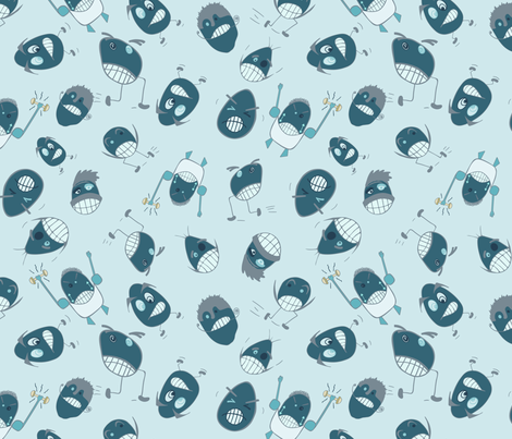 Egg Heads Seamless Repeating Pattern on Blue fabric by paula_ohreen_designs on Spoonflower - custom fabric