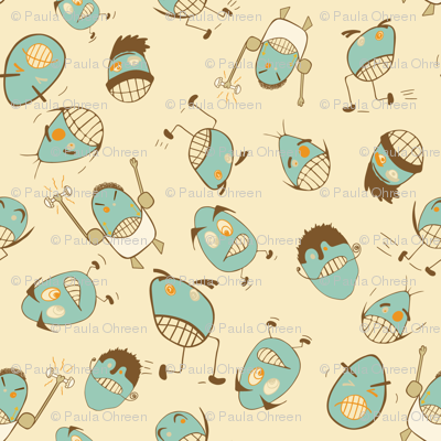Egg Heads Seamless Repeating Pattern on Teal