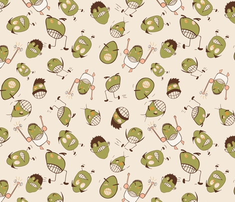 Egg Heads Seamless Repeating Pattern on Beige fabric by paula_ohreen_designs on Spoonflower - custom fabric