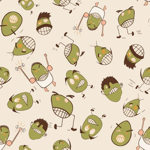 Egg Heads Seamless Repeating Pattern on Beige