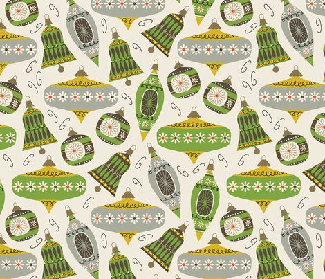 Vintage Ornaments - lemon and edamame fabric by retrorudolphs on Spoonflower - custom fabric