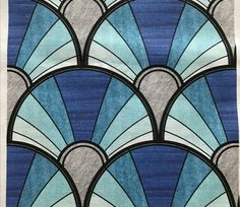 Ombre Blue Art Deco Fan