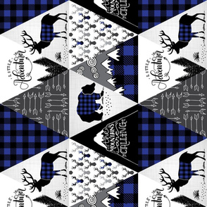 Cheater quilt blue (ROTATED) - buffalo adventure - 12 inches repeat