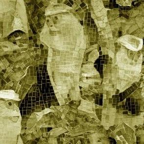 Mona Monkey Mosaic Sepia