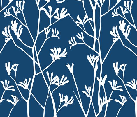 Navy and white kangaroo paw fabric by hollydickson on Spoonflower - custom fabric