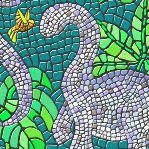 Dinosaur and Hummingbird Mosaic Teal Green