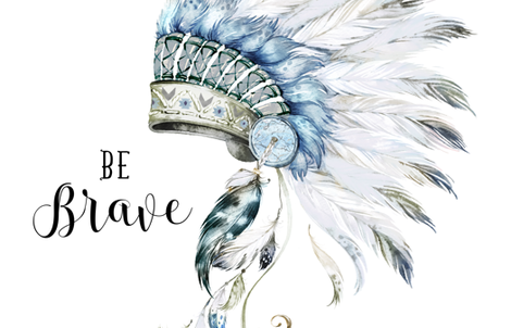 "56""x72"" BE BRAVE / Headdress / Boys fabric by shopcabin on Spoonflower - custom fabric"