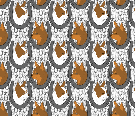 Chihuahua horseshoe portraits C fabric by rusticcorgi on Spoonflower - custom fabric