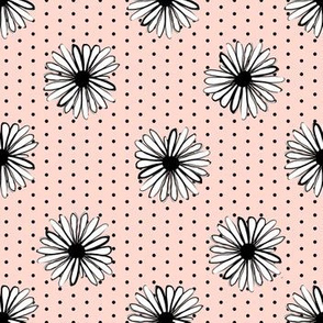 daisy fabric // dots florals 90s girls flower fabric - blush dots