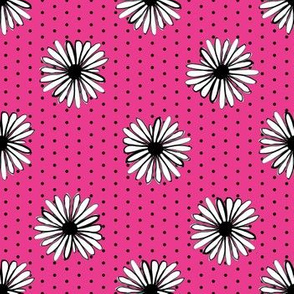 daisy fabric // dots florals 90s girls flower fabric - bright pink dots