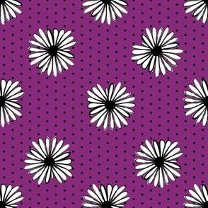 daisy fabric // dots florals 90s girls flower fabric - purple dots
