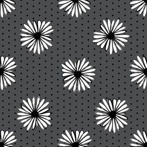 daisy fabric // dots florals 90s girls flower fabric - charcoal dots