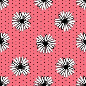 daisy fabric // dots florals 90s girls flower fabric - coral dots