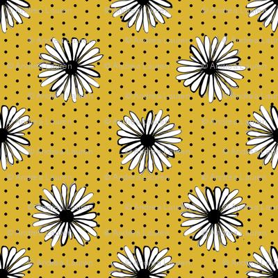 daisy fabric // dots florals 90s girls flower fabric - golden dots