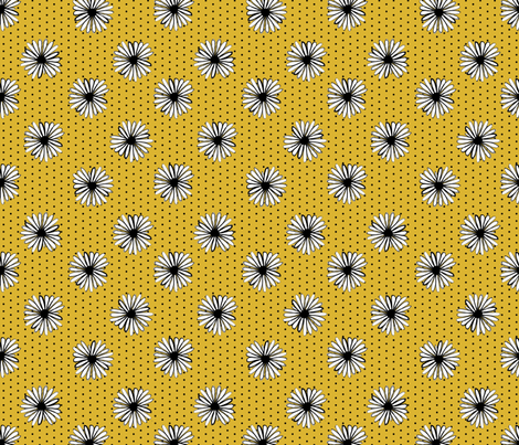 daisy fabric // dots florals 90s girls flower fabric - golden dots fabric by andrea_lauren on Spoonflower - custom fabric