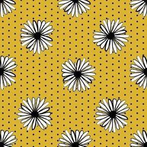 daisy fabric // dots florals 90s girls flower fabric - golden dots