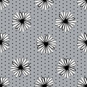 daisy fabric // dots florals 90s girls flower fabric - grey dots