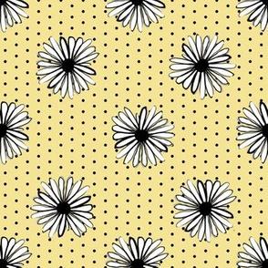 daisy fabric // dots florals 90s girls flower fabric - lemon yellow dots