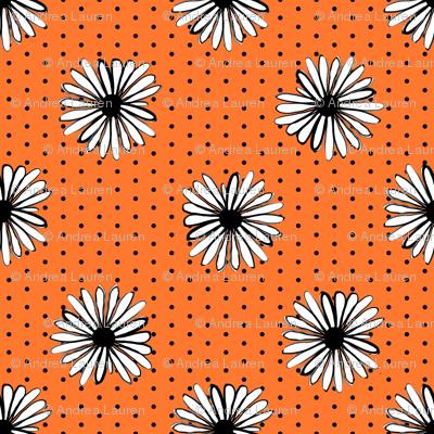 daisy fabric // dots florals 90s girls flower fabric - orange dots