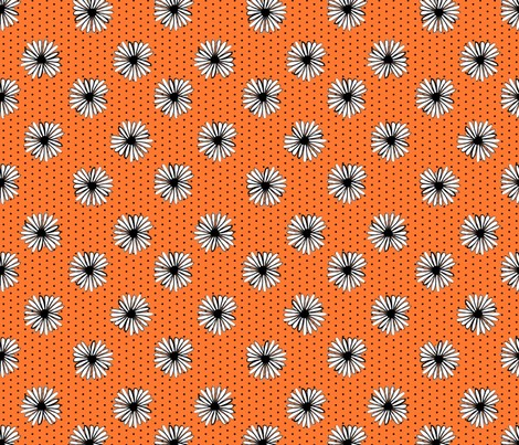 daisy fabric // dots florals 90s girls flower fabric - orange dots fabric by andrea_lauren on Spoonflower - custom fabric