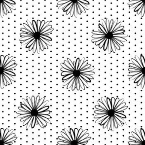 daisy fabric // dots florals 90s girls flower fabric - white dots